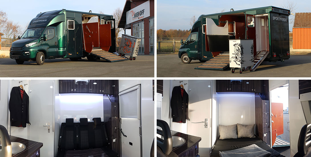 Iveco Daily Horse transporter for 3 horses with living area and saddle chamber