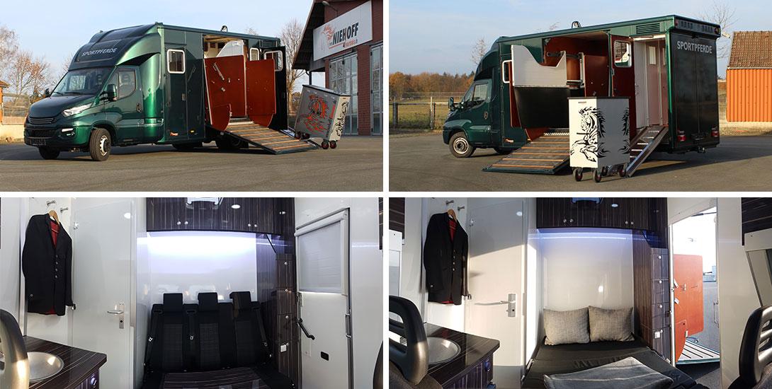 Iveco Daily Pferdetransporter für 3 Pferde mit Wohnkabine und Sattelkammer