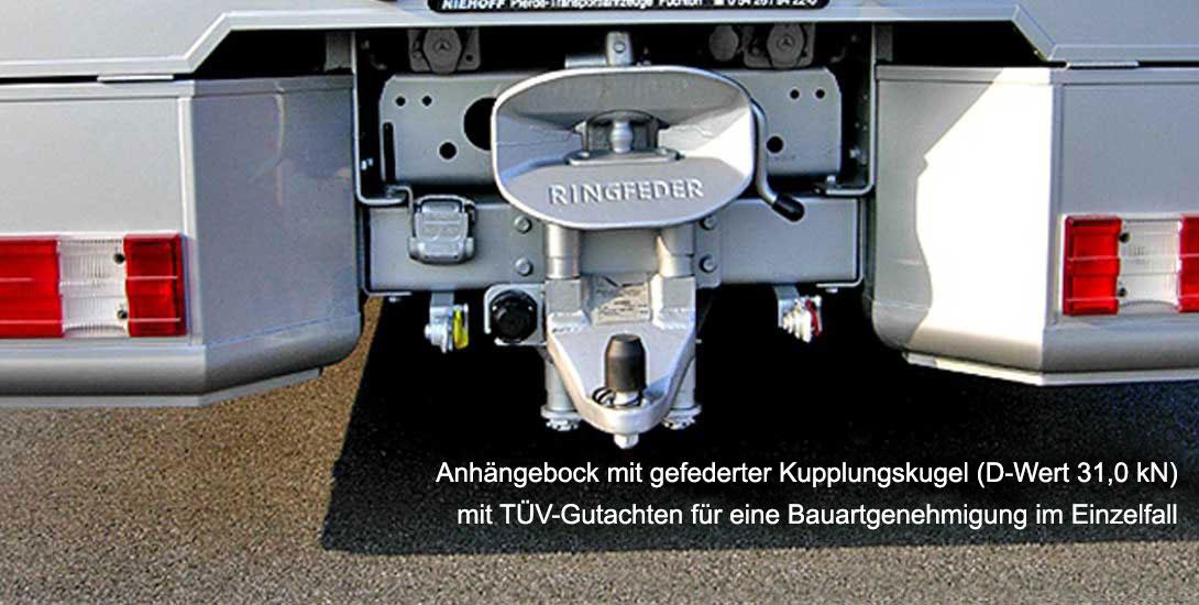 Anhängebock mit gefederter Kupplungskugel (D-Wert 31,0 kN) mit TÜV-Gutachten für eine Bauartgenehmigung im Einzelfall