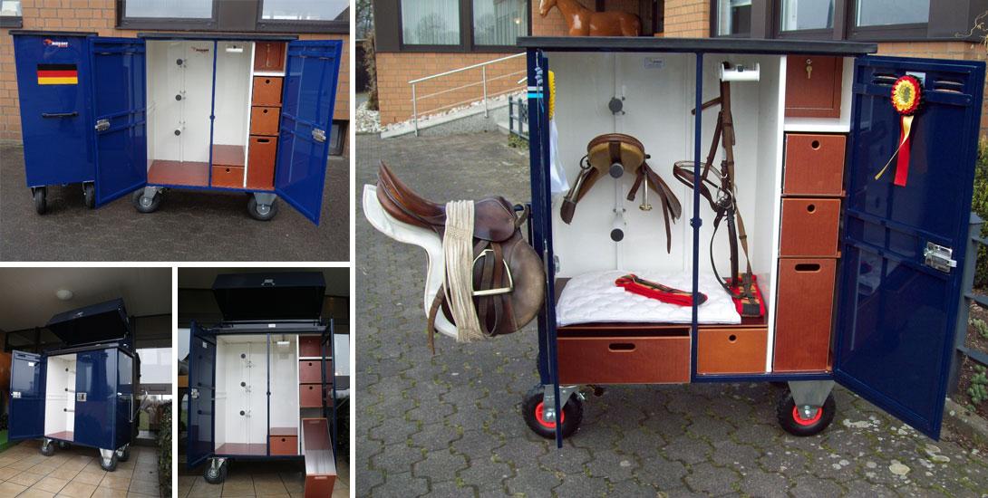 Saddle cabinet with lateral foldable saddle holder